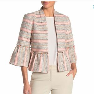 Dolce Cabo bell sleeve stripe woven peplum jacket